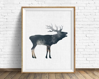"""Elk print, elk art, nursery animal, kids printable art, nursery decor, nursery printable, animal print, woodland nursery, printable - """"Elk"""""""