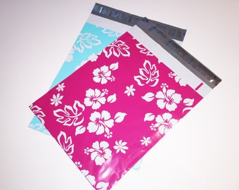 200 Designer Poly Mailers 10x13 Pink Aloha and Turquoise Hawaiian Hibiscus Flowers 100 Each Envelopes Shipping Bags Spring Mother's Day