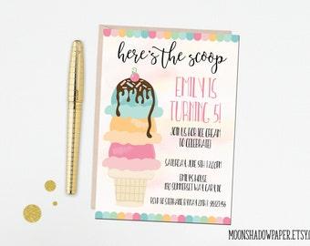DIY Printable Ice Cream Birthday Party Invitation | Ice Cream Social | 5th Birthday | Birthday Girl - DIGITAL FILE