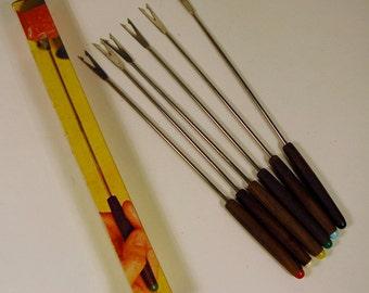 Vintage Set of Fondue Forks -1970's, Retro Forks, Kitchenalia, Forks with Wooden Handles and Coloured Tips