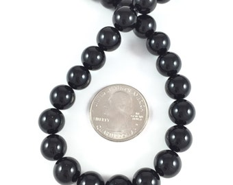 Round Black Onyx Beads, Polished, 10mm, Jewelry Making Supplies
