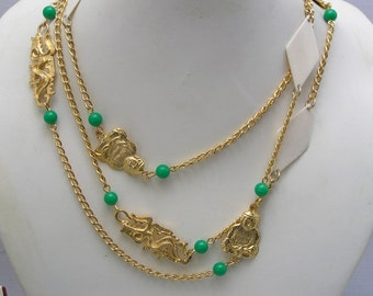 Long Chain Necklace . Asian Jewelry . Oriental jewelry