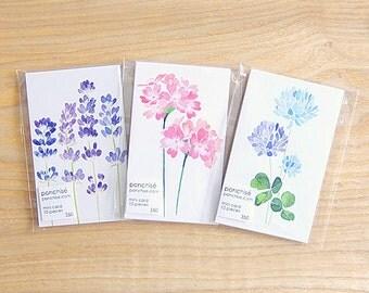 Mini message card (lavender, primrose, white clover)