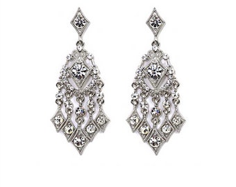 Vintage Style Chandelier Earrings With Clear Austrian Crystals (E15)