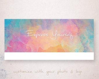 Facebook Timeline Cover, Facebook Timeline Template, Facebook Cover Photo, Watercolor Facebook cover, Express Yourself, Instant Download