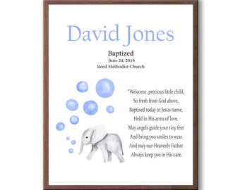 Girls Baptism Art, Baby Elephant, Baby Blue, Boys Baptism Art Gift, Christening Art Gift