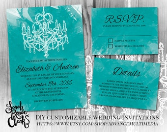 Wedding Invitation Template – Customizable PSD template, chandelier invitation suite, printable wedding invitations, Editable PSD invitation