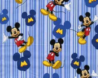 Disney Mickey Mouse fabric, Disney fabric, blue fabric, striped fabric, kids fabric, cartoon fabric, Disney