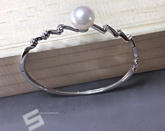 AAA Grade White Pearl & Sterling Silver Bangle, Freshwater Pearl Silver Bracelet, Silver Bangle Bracelet, Pearl Jewelry, Wedding Jewelry