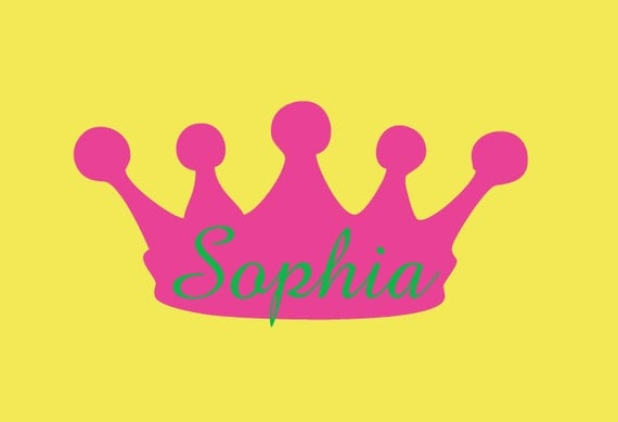 Glossy Crown Wall Decor : Name and crown vinyl wall decal princess nursery