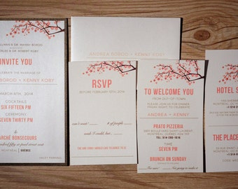 Coral and brown Wedding Invitations, Peach Wedding Invitation, Peach and brown wedding Invitations, coral wedding invitation, cherry blossom