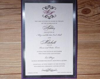 Beautiful Wedding Invitation, Beautiful Invitation, Purple Wedding Invitation, Purple Wedding Invitations, Silver Foil Invitations, Purple