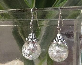 Glass and silver earrings