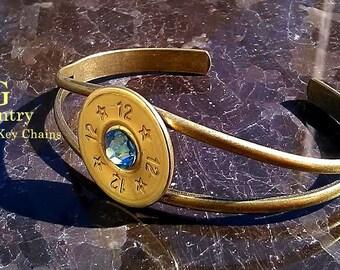 Bullet bracelet 12 gauge cuff bracelet with Swarovski Crystal, bullet jewelry accessory, brass,women's accessory, women's gift