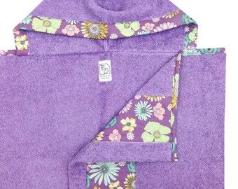 Lilac Floral Hooded Towel Mint Lavender