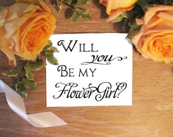 Wedding card, Flower GIrl, Will you be my? Calligraphy,