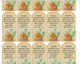 Primitive Country Bee with Skep HOME Instant Download U Print Hang Tags