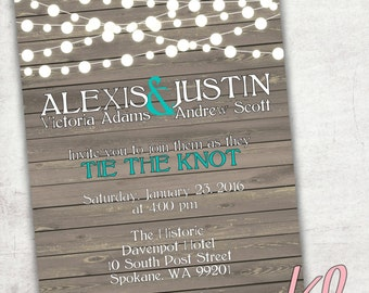 Printable - Rustic Country Wedding Invitation - Customize to your colors