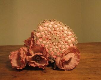 Vintage Handmade Pink Fabric Sachet, Crocheted Doily Cover, Pillow Sachet, Pink Sachet, Pink Drawer Sachet, Small Pink Fabric Sachet