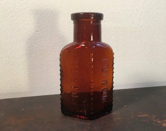 19th Century Antique Poison Bottle, Amber Glass Bottle With Warning Nubs