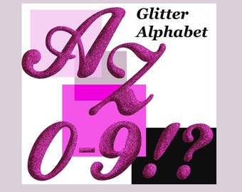 Glitter Digital alphabet, clipart glitter alphabet Digital signs Monogram Glitter ABC