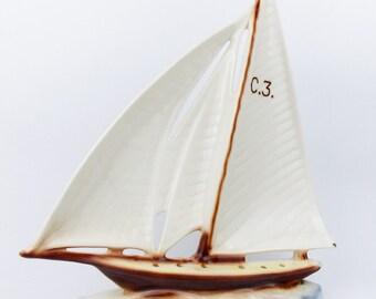 Rare Vintage DITMAR URBACH Ceramic Figurine of Ship Sailing Boat Czechoslovakia
