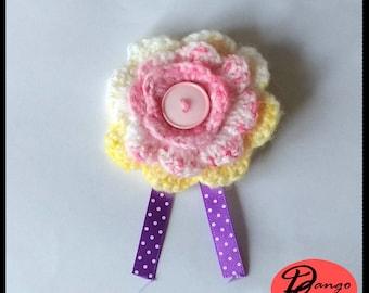Crochet Hair Clip Flower with button