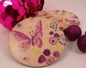 Handmade 'Purple Butterfly' Coaster, set of 4