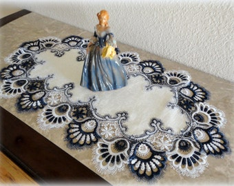 """27""""  Dresser Scarf Table Runner Lace Navy Blue and White"""