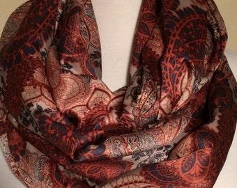 A beautiful silky print infinity scarf