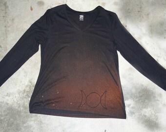 Triple Moon Long Sleeve Tshirt/Bleach Design/Wicca/Goddess/ Fall/Winter/XXL Women/Refashion *20% off Solstice Sale Price as Marked*