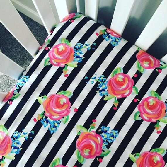 Fitted crib sheet Black and white stripes roses crib sheet