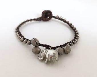 Lucky Elephant bracelet, Elephant bracelet , Silver bracelet, Silver Beaded bracelet, Waxed cotton cord bracelet, Friendship bracelet