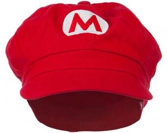 Circle Mario and Luigi Embroidered Cotton Newsboy Cap
