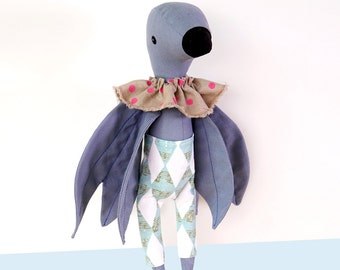 Fabric Doll  ''Phoenix''   Handmade stuffed creature