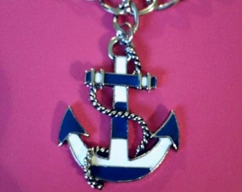 Blue and White Striped Nautical Anchor Necklace