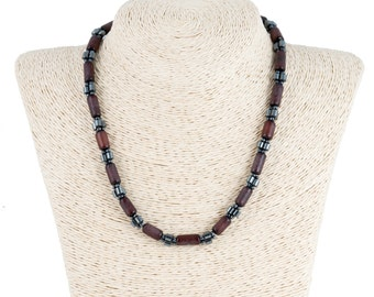 Buri Seed Beads Necklace with Bematite Beads