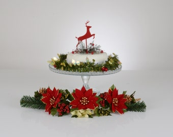 Reindeer Christmas Cake Topper Decoration - Red Or Silver