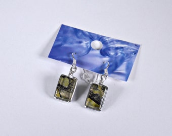 Antique and black green fused glass earrings.