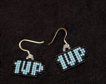 Blue 1 up earings