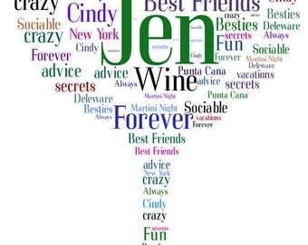 Best Friends, Girlfriends, Celebration Word Art- DIGITAL JPG FILE