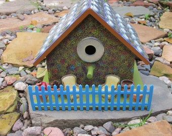 Hand Painted Birdhouse with Porch