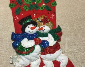 Christmas Stocking; Mr & Mrs Snowman