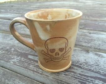 Handmade ceramic mug with poison sign