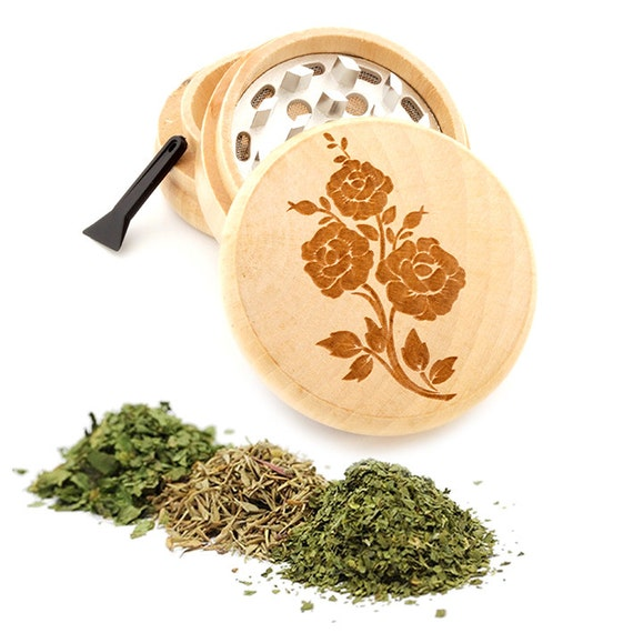 Flower Engraved Premium Natural Wooden Grinder Item # PW050916-137