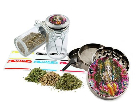 "Ganesha - 2.5"" Zinc Alloy Grinder & 75ml Locking Top Glass Jar Combo Gift Set Item # 110514-0017"
