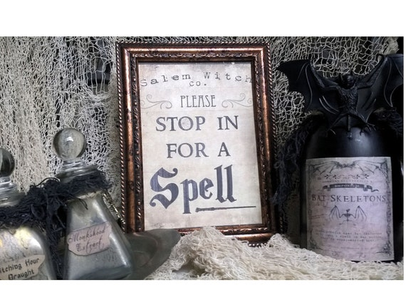 """Salem Witch Co. Halloween Framed Print """"STOP In For A SPELL"""" 5X7 Framed Table Wall or Shelf Witch Saying Sign Decor"""