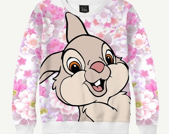Cartoonish Bunny, Rabbit - Men's Women's Sweatshirt | Sweater - XS, S, M, L, XL, 2XL, 3XL, 4XL, 5XL