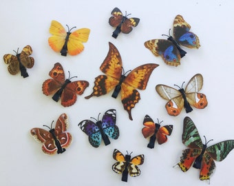 Butterfly Hair Clips. Brown Butterfly Hair Clips.