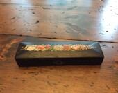 Vintage Fountain Pen Case Black Laquer and Floral Design (A454)